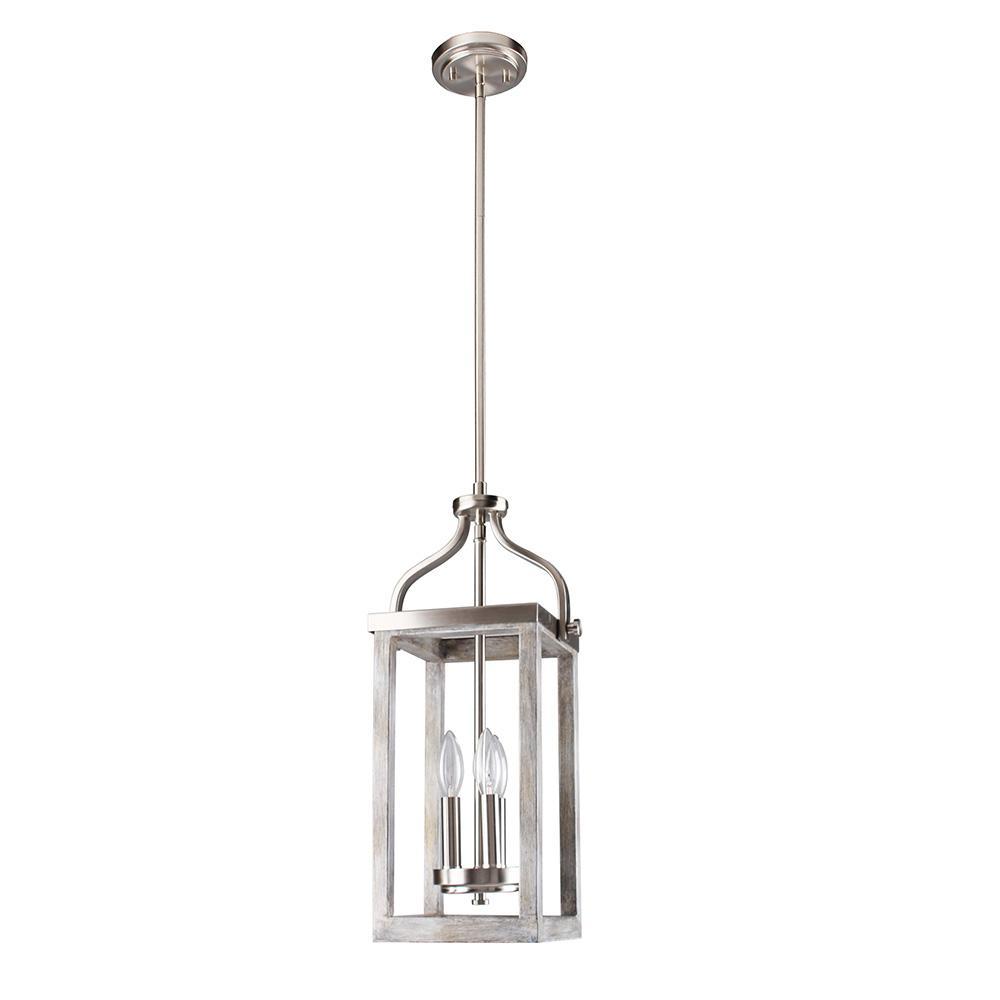 Westbury 3-Light Brushed Nickel with Grey Wood Pendant