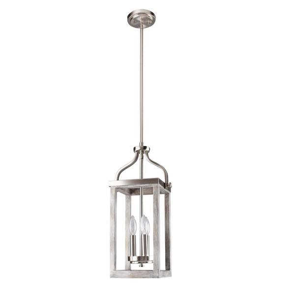 Westbury 3-Light Brushed Nickel with Grey Wood Pendant