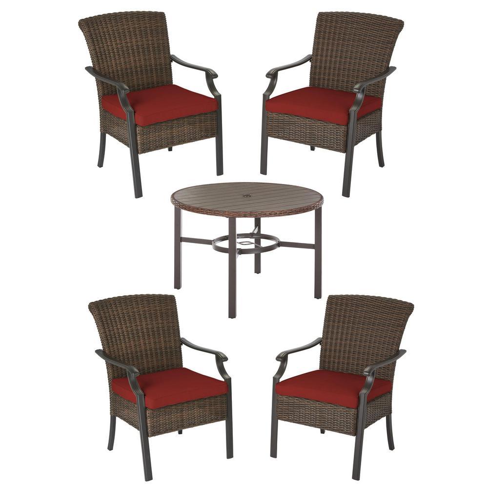 Harper Creek 5-Piece Brown Steel Outdoor Patio Dining Set with Sunbrella Henna Red Cushions