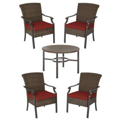 Harper Creek Brown 5-Piece Steel Outdoor Patio Dining Set with Sunbrella Henna Red Cushions