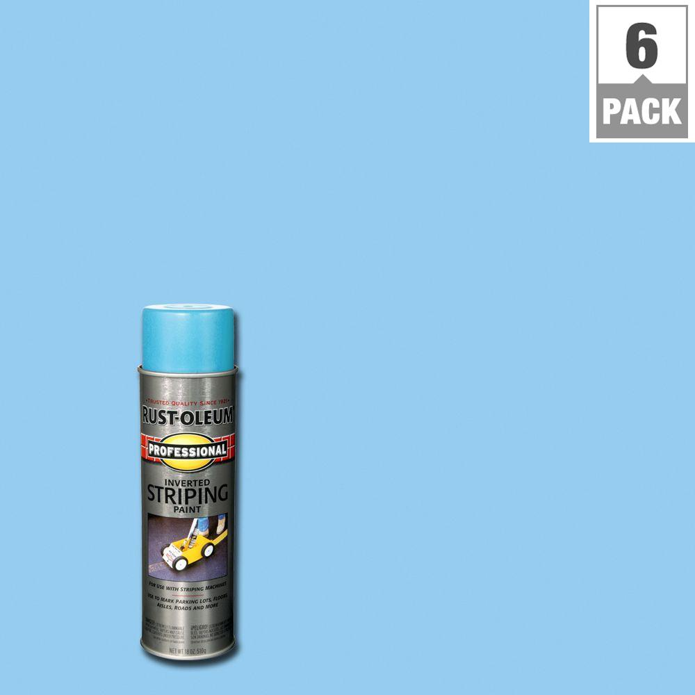 Rust-Oleum Professional 18 oz. Flat Blue Striping Spray Paint (6-Pack)