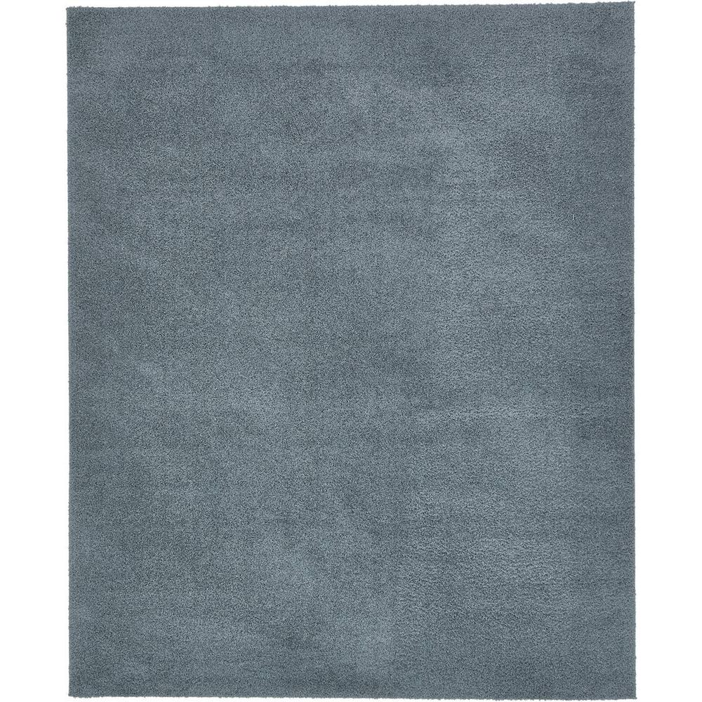 Unique Loom Solid Shag Slate Blue 8 Ft X 10 Ft Area Rug