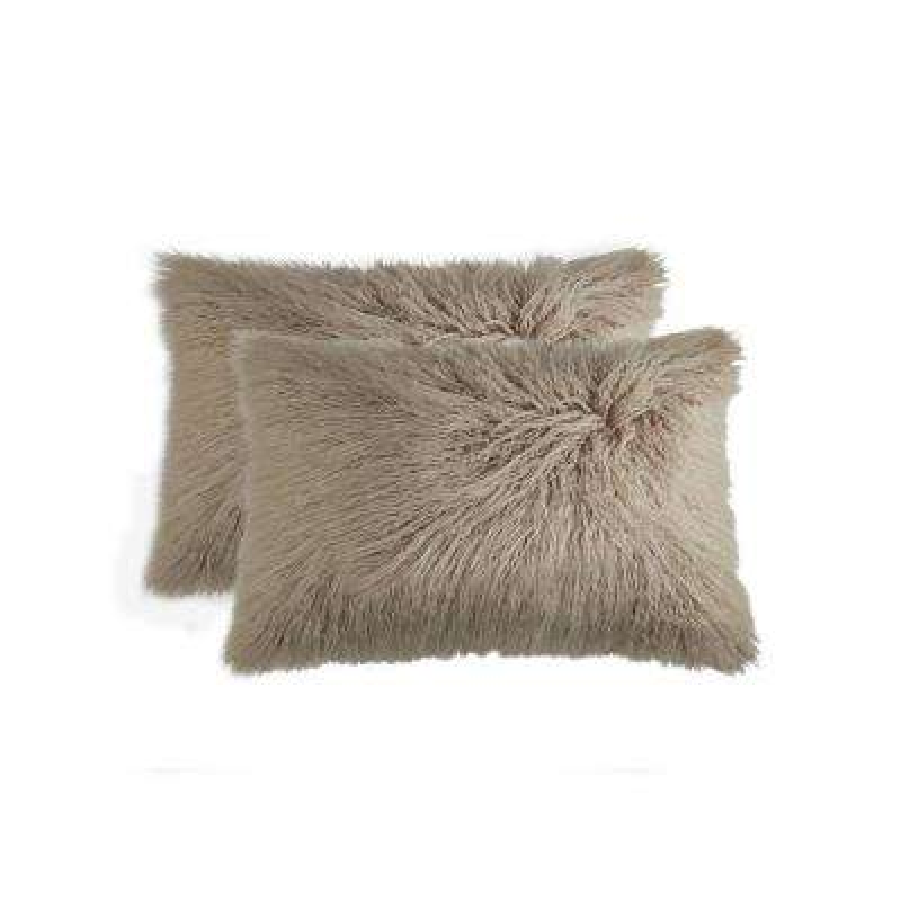Frisco Mongolian Tan 12 in. x 20 in. Faux Sheepskin Fur Pillow (2-Pack)
