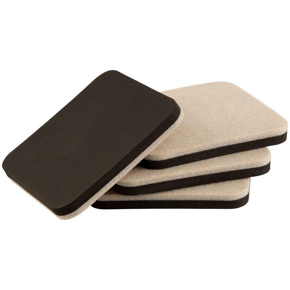 Everbilt 4 in. Oatmeal Square Thin Felt Reusable Slider (4-Pack)