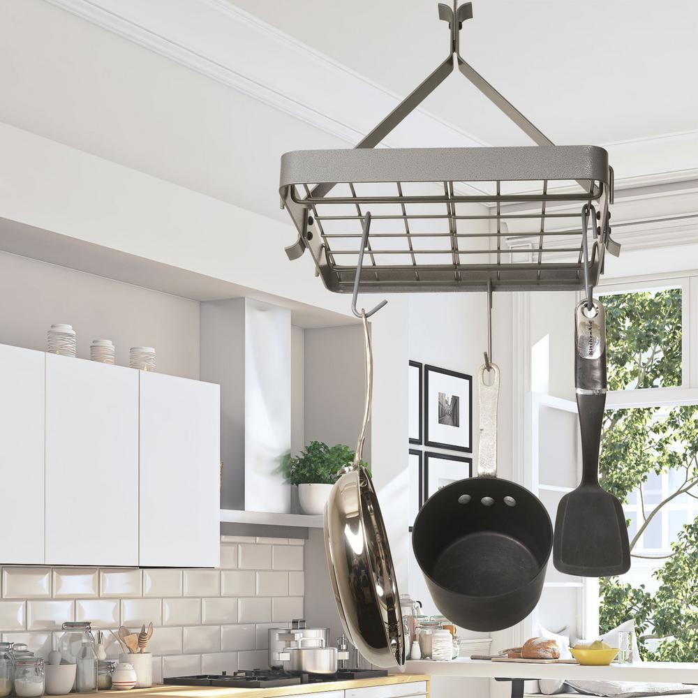 Rack it up gray hanging square ceiling pot rack mps 03 gy the rack it up gray hanging square ceiling pot rack mozeypictures Gallery