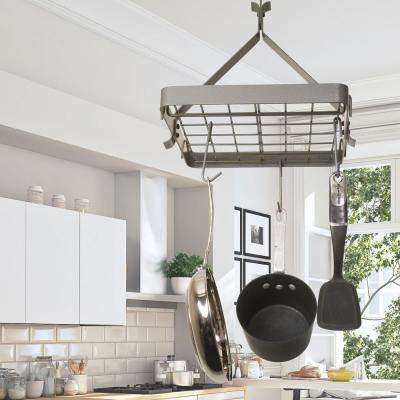 Gray Hanging Square Ceiling Pot Rack