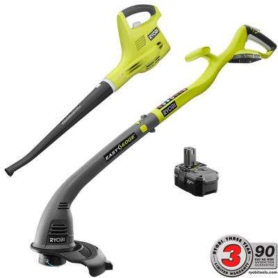 ONE+ 18-Volt Lithium-Ion String Trimmer/Edger and Blower/Sweeper Combo Kit - 2.6 Ah Battery and Charger Included