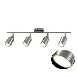 size 40 a3b4d 5808b Monteaux Lighting 31.5 in. 4-Light Brushed Nickel Integrated LED Track  Lighting Kit-NB 439-W - The Home Depot