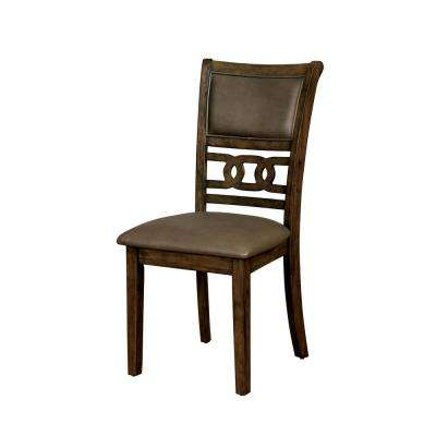 Ilana Satin Walnut Leatherette Ring Side Chair (Set of 2)
