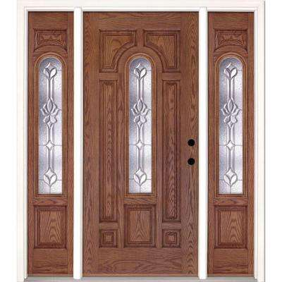 67.5 in.x81.625 in. Medina Zinc Center Arch Lite Stained Medium Oak Left-Hand Fiberglass Prehung Front Door w/ Sidelites