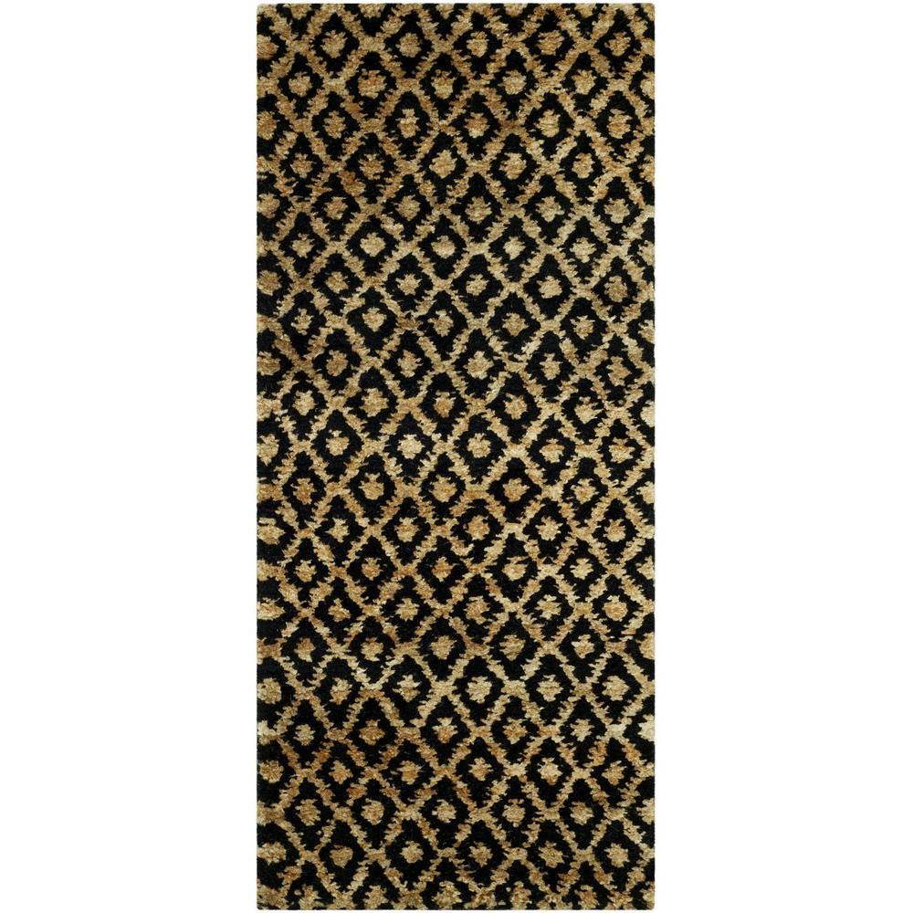 Bohemian Black/Gold 3 ft. x 6 ft. Runner Rug