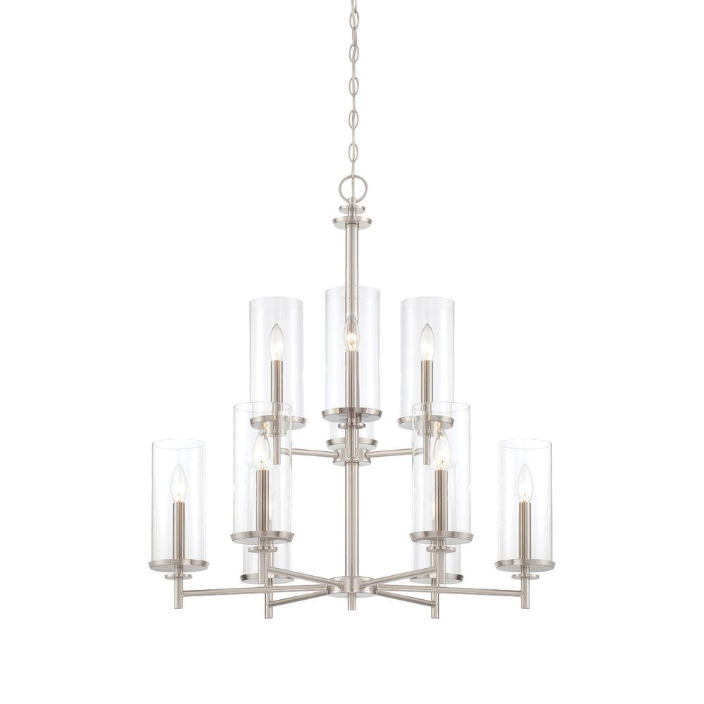 Designers Fountain Harlowe 9-Light Satin Platinum Interior Incandescent Chandelier