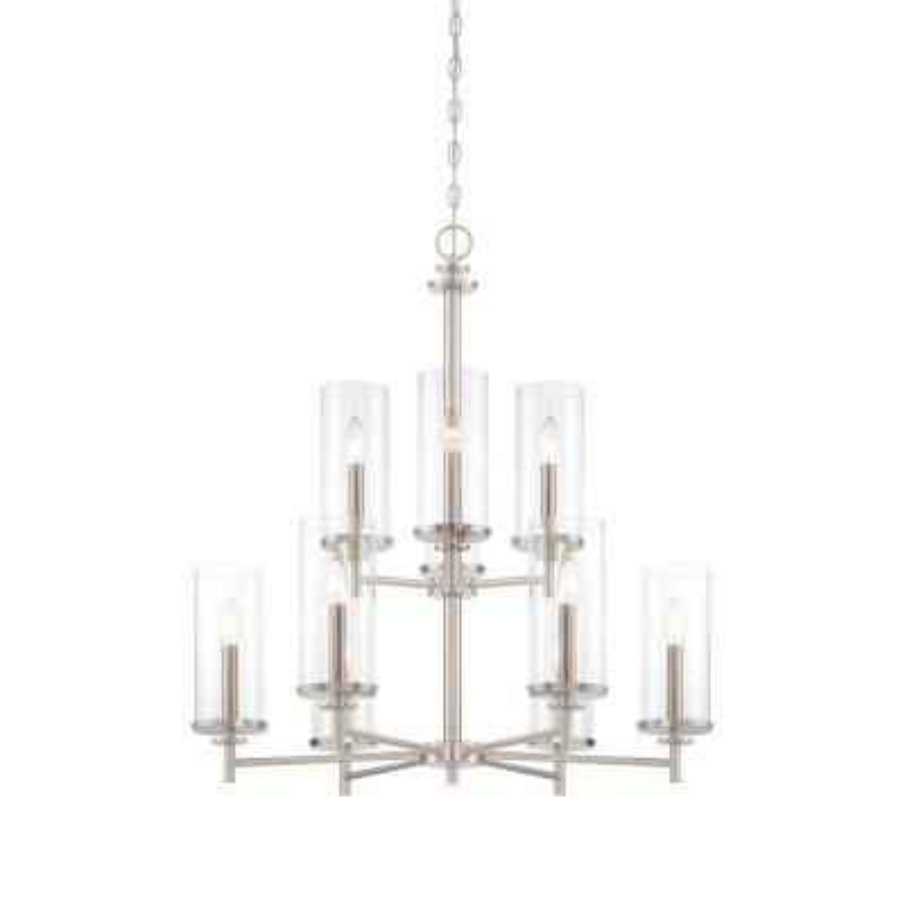 Harlowe 9-Light Satin Platinum Interior Incandescent Chandelier