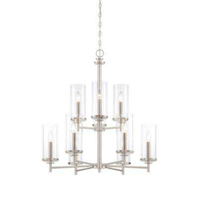 Harlowe 9-Light Satin Platinum Interior Incandescent Chandelier