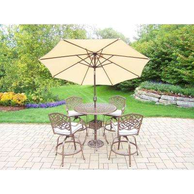 7-Piece Aluminum Patio Bar Height Dining Set with White Cushions and Umbrella