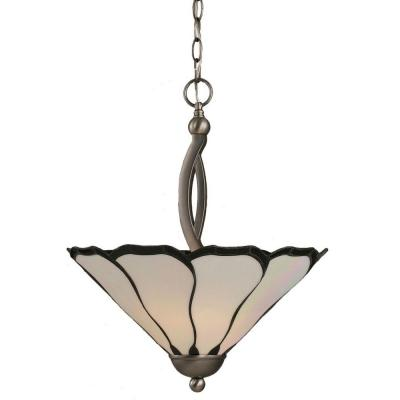 Concord 2-Light Brushed Nickel Pendant with Pearl and Black Flair Tiffany Glass