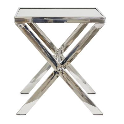 Cannes Nickel Color Bark Wood Side Table