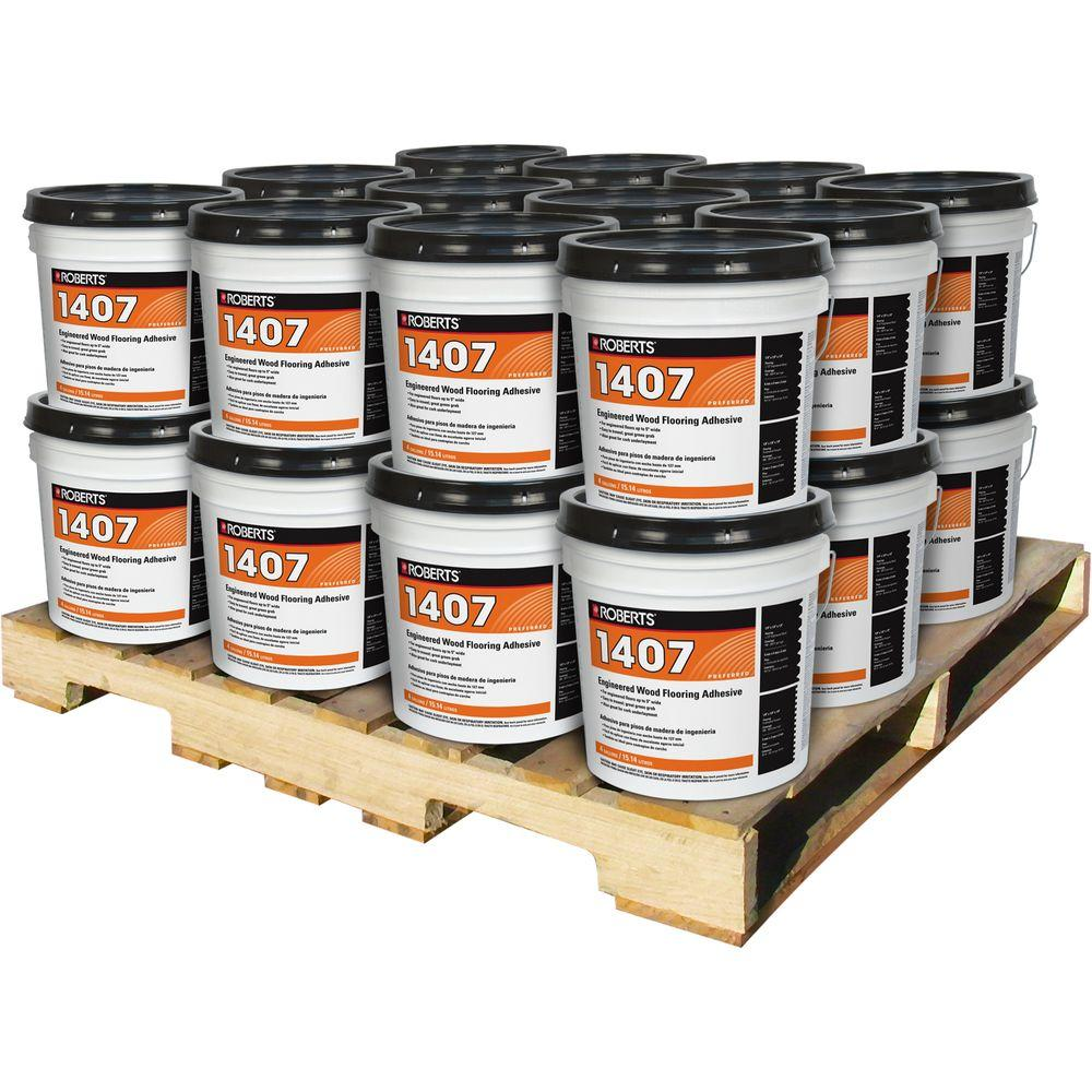 Roberts 4 Gal. Engineered Wood Flooring Glue Adhesive (24 Pail ...