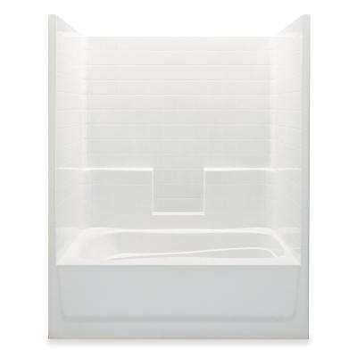 Everyday Smooth Tile 60 in. x 36 in. x 76 in. 1-Piece Bath and Shower Kit with Right Drain in White