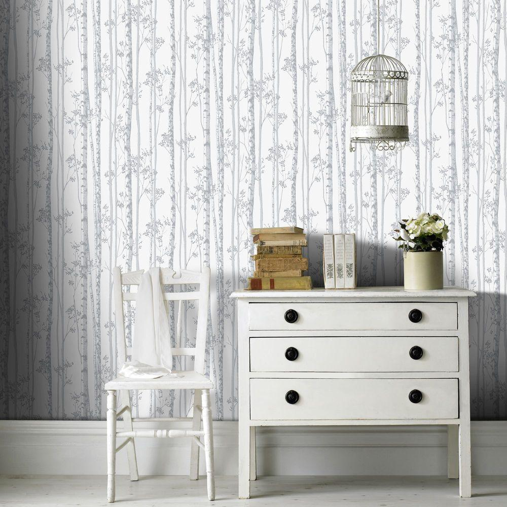 Pearl and Gray Linden Removable Wallpaper