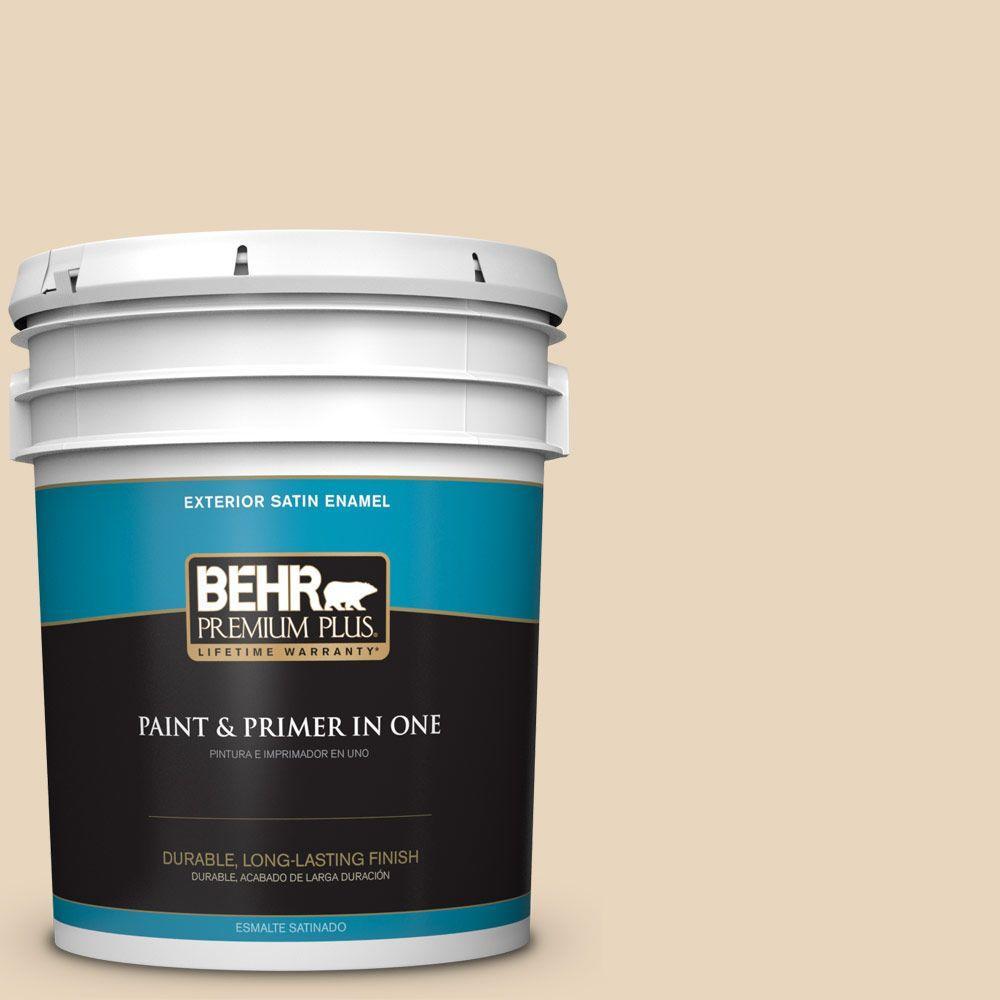 BEHR Premium Plus 5-gal. #N280-2 Writer's Parchment Satin Enamel Exterior Paint