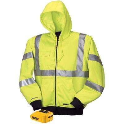 Unisex 2X-Large Yellow High Visibility 20-Volt/12-Volt MAX Heated Class 3 Drawstring Hoodie