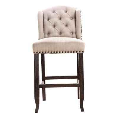 Button Tufted 44.5 inches H Beige and Black Fabric Upholstered Wooden Bar Chair (Set of Two)
