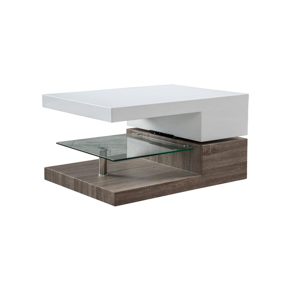 Ordinaire Noble House Ester Glossy White With Sonoma Oak Small Rectangular Coffee  Table