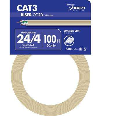 100 ft. Tan 24/4 Solid CU CAT3 CMR (Riser) Data Cable