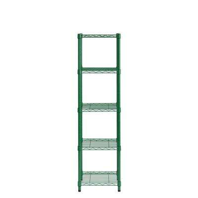 16 in. W x 57 in. H x 16 in. D Green 5 tier Shelving Unit