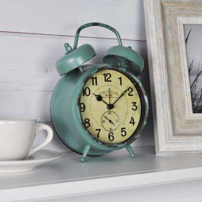5 in. x 7 in. Teal Double Bell Table Top Clock