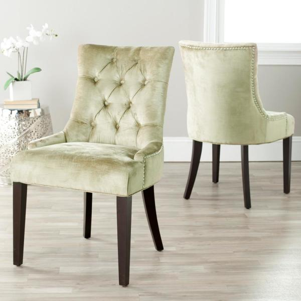 Safavieh Abby Antique Sage/Espresso Cotton Blend Side Chair (Set of 2)