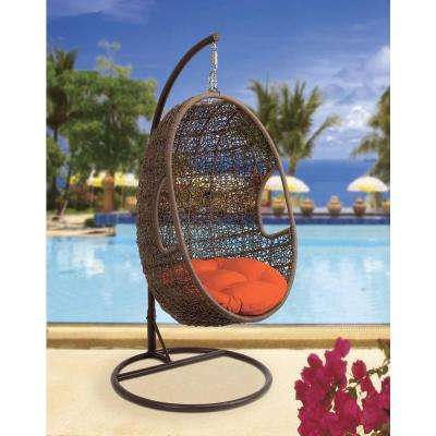 43 in. x 80 in. Large Brown Outdoor Single Pod Patio Swing Chair with Orange Cushion and Decorative Weave