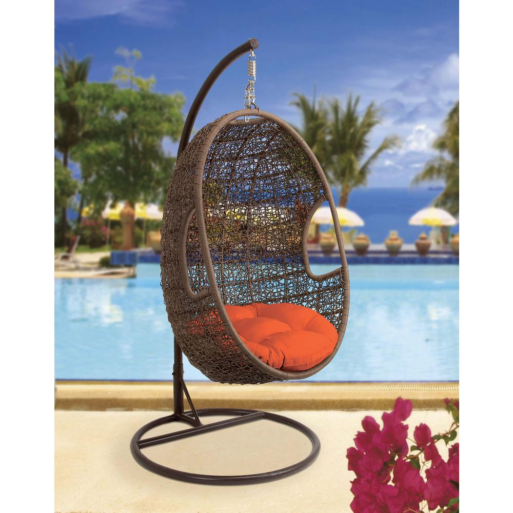 Organic Inspired Brown Rattan And Iron Suspended Egg Swing Chair With Red  Cushions
