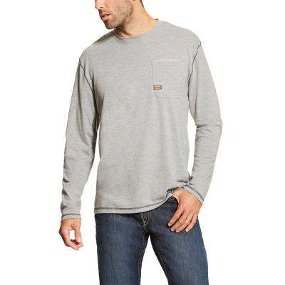 Men's Size X-Large Heather Gray Rebar Long-Sleeve Work T-Shirt