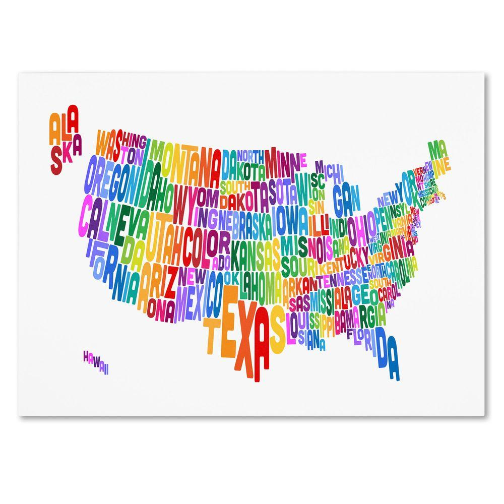 Trademark Fine Art 16 in. x 24 in. USA States Text Map 3 Canvas Art
