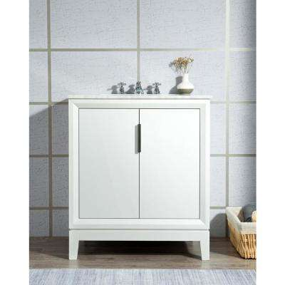 Elizabeth Collection 30 in. Bath Vanity in Pure White With Vanity Top in Carrara White Marble - With Mirror(s)