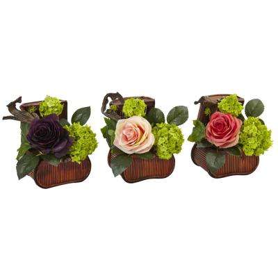 Indoor Rose and Mini Greenery Silk Arrangement in Wooden Chests (Set of 3)