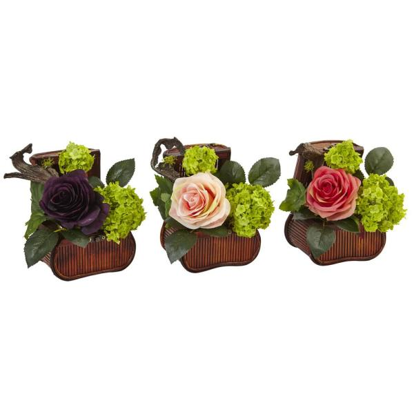 Nearly Natural Indoor Rose and Mini Greenery Silk Arrangement in Wooden Chests (Set of 3)
