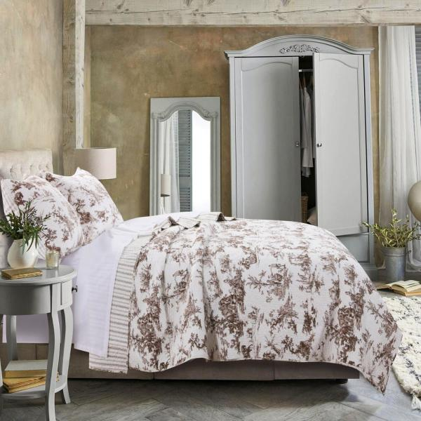 Greenland Home Fashions Classic Toile 3-Piece Taupe Full/Queen Quilt Set