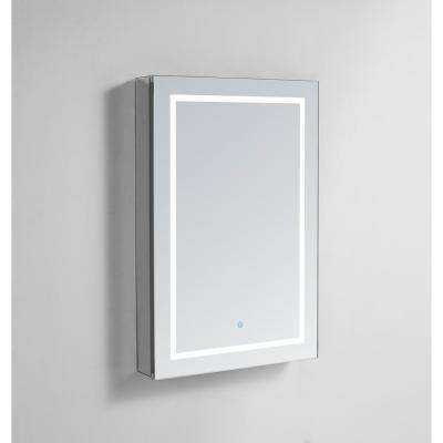 Royale Plus 24 in W x 36 in. H Recessed or Surface Mount Medicine Cabinet with Single Door, LED Lighting, Right Hinge