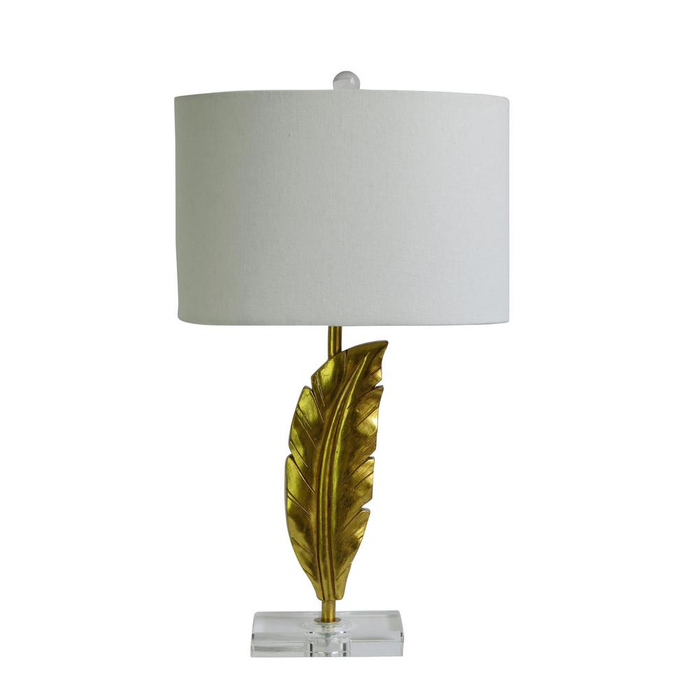 Fangio Lighting 26 In Quill Resin And Crystal Table Lamp In A Gold