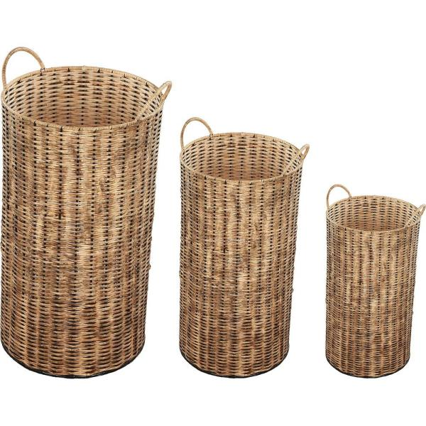Haya 24 in. x 12 in. Rattan Brown Iron Planter (Set of 3)