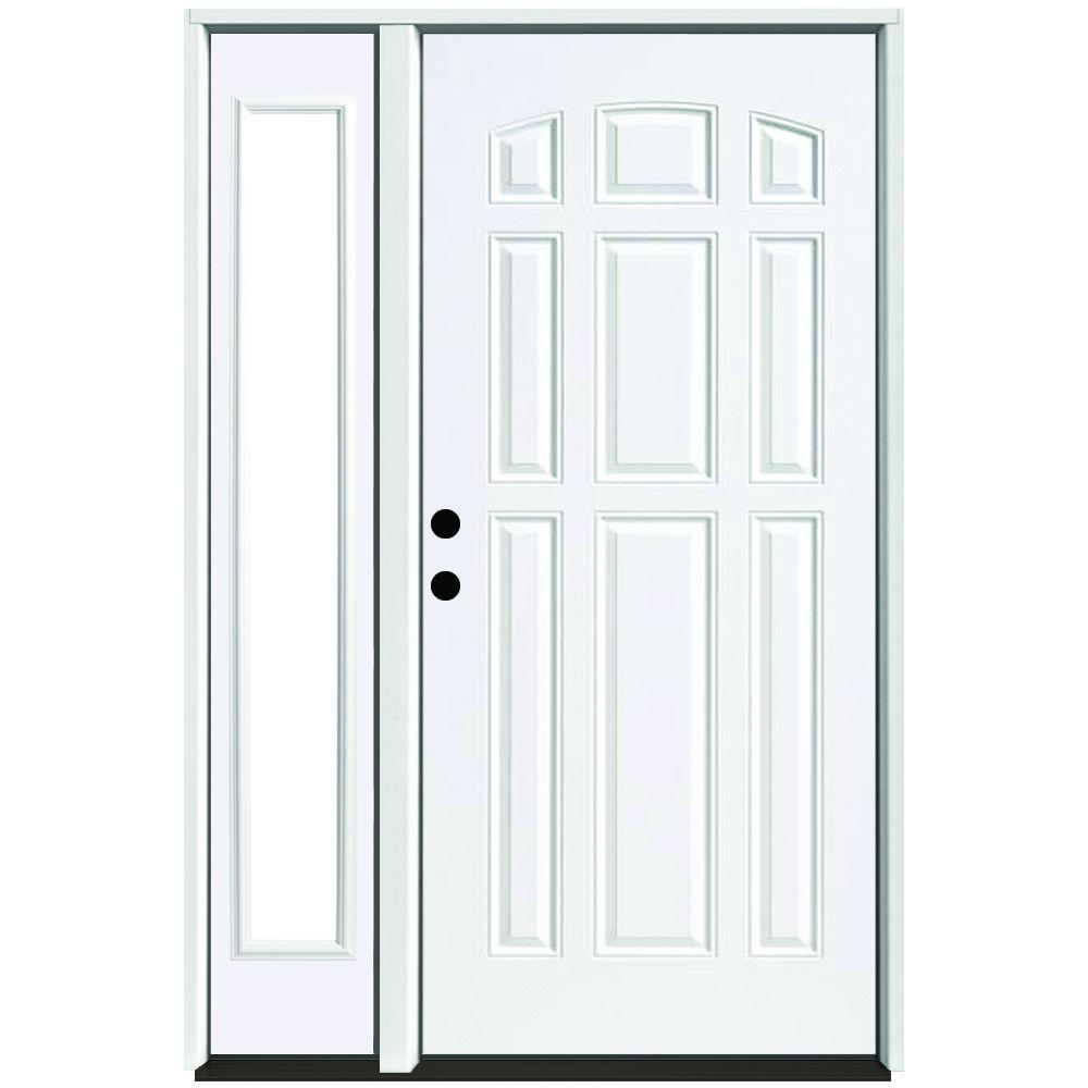 Steves & Sons 51 in. x 80 in. 9-Panel Primed White Right-Hand Steel Prehung Front Door with 12 in. Clear Glass Sidelite 4 in. Wall
