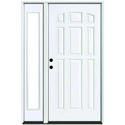 53 in. x 80 in. 9-Panel Primed White Right-Hand Steel Prehung Front Door with 14 in. Clear Glass Sidelite 4 in. Wall