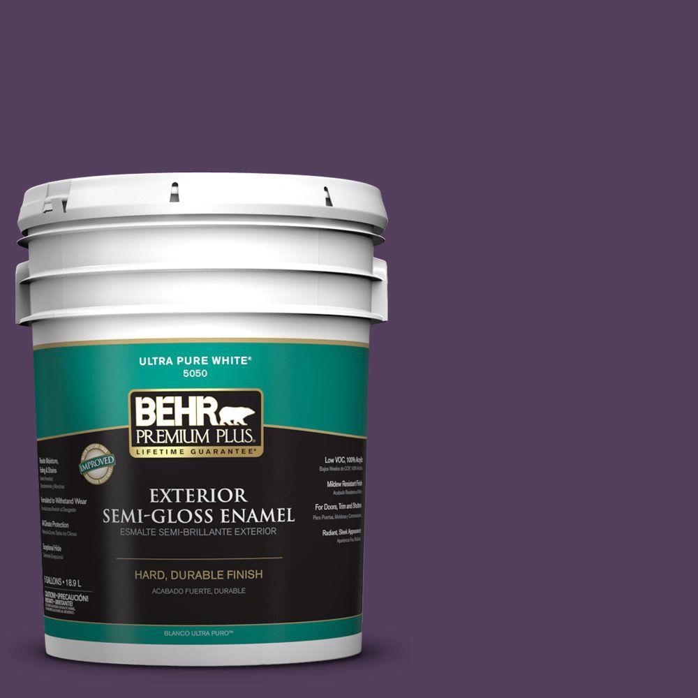 BEHR Premium Plus 5-gal. #S-H-670 Plum Semi-Gloss Enamel Exterior Paint