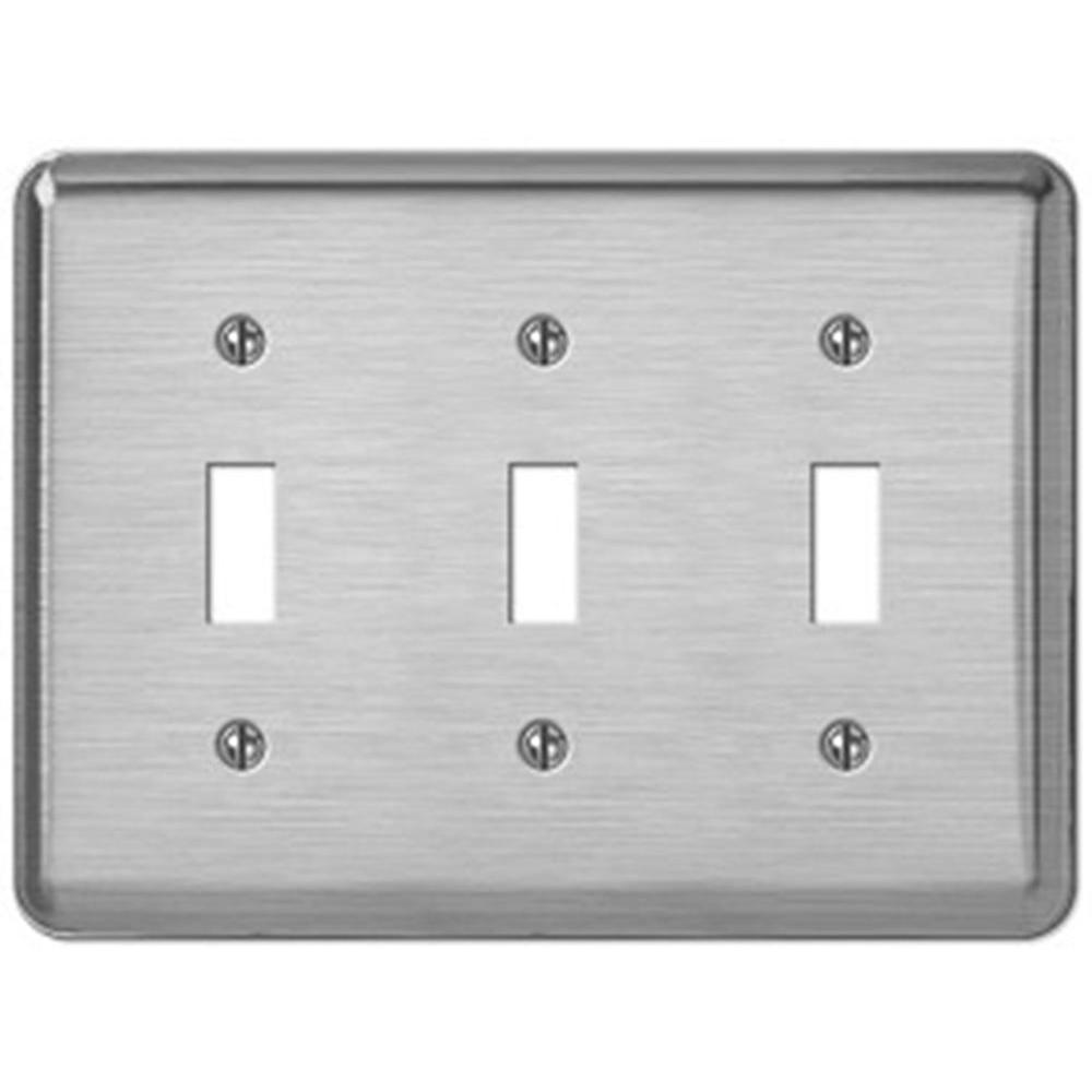 Creative Accents Steel 3 Toggle Wall Plate - Brushed Chrome-DISCONTINUED