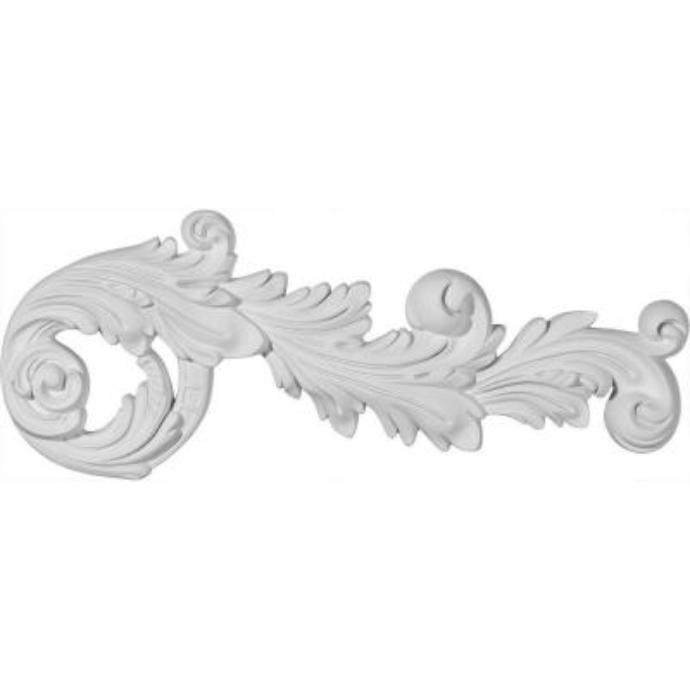 Factory Primed White Ekena Millwork ONL17X06X01CL 17 W x 6 1//4 H x 1 1//8 P Classic Tassel Swag Onlay