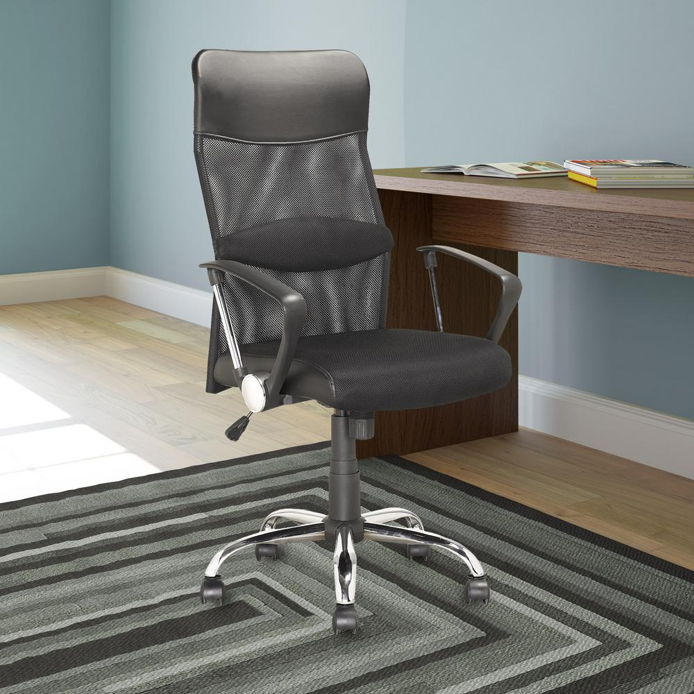 Workspace Executive Office Chair in Black Leatherette and Mesh