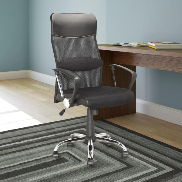 CorLiving Workspace Executive Office Chair in Black Leatherette and Mesh